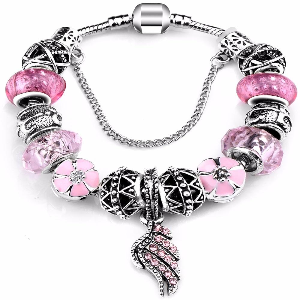 Pink Rose Swirl Pattern Murano Glass Bead fits Silver European Charm Bracelets Fashion Jewelry for Women Man