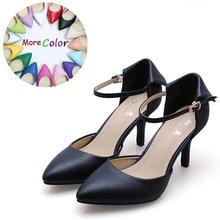 2017 натуральная кожа женская летняя обувь на высоком каблуке Ремешок на щиколотке 5.5 и 7.5 и 9 см шпильки Модные женские туфли-лодочки schoenen vrouw