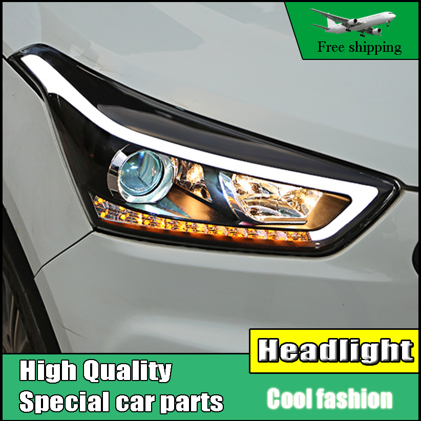 Car Styling Head Lamp Case For Hyundai Creta IX25 2015-2017 Headlights LED Daytime Running Light LED DRL Bi-Xenon Low Beam HID car styling head lamp case for hyundai creta ix25 headlight 2015 2016 sentra led headlight drl h7 d2h hid option bi xenon beam