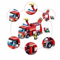 Fire Truck Building Blocks 206pcs Educational DIY Toy Truck Construction Set Fireman Sam Playmobile Compatible Legoelied Lepin