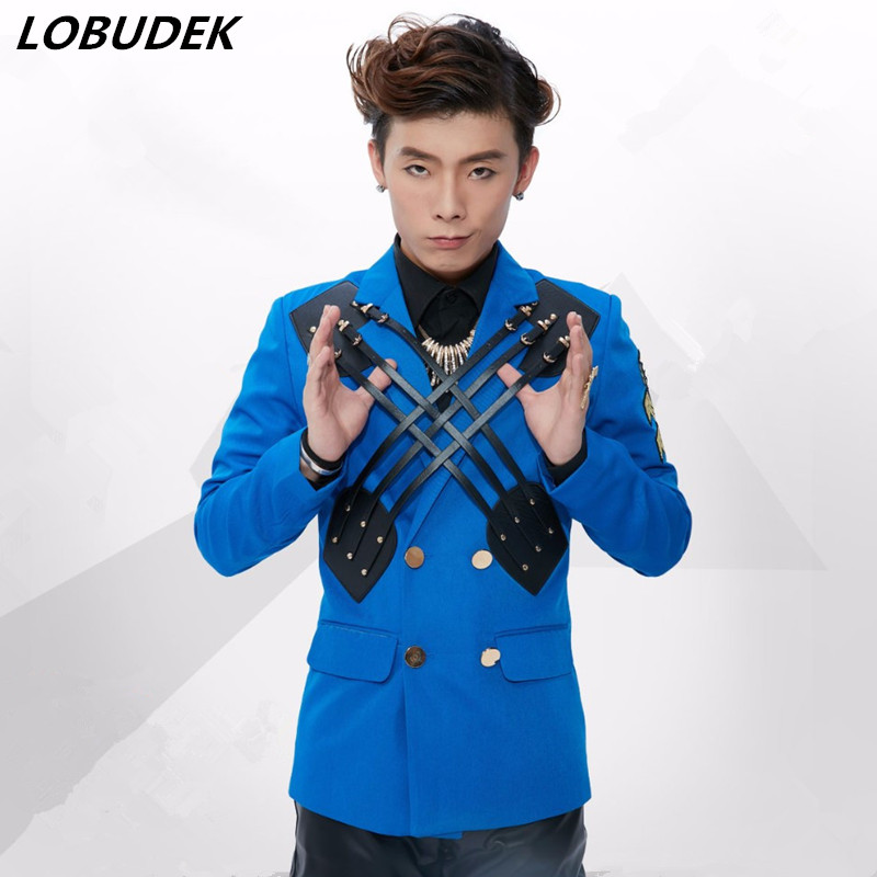 bar blue suit blazer male boy outerwear dancer singer performance show nightclub slim star prom party