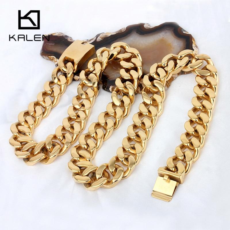 Kalen 70cm Lange Cubaanse Collier Rvs Dubai Goud Kleur 440g Zware Chunky Ketting Mannen's Accessoires