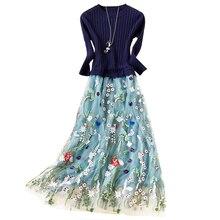 2018 новые осенние модные платье трикотажная сетка Пряжа платье с вышивкой с длинным рукавом круглый воротник темперамент длинное платье