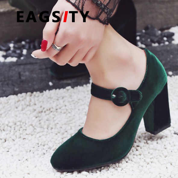 EAGSITY Suede Pumps Mary Jane shoes for women square heel buckle strap high  heel ladies shoe fba9348d74e9