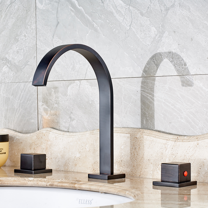 Solid Brass Oil Rubbed Bronze Finished Deck Mounted Bathroom Sink Faucet Dual Handle Mixer Tap oil rubbed bronze finished deck mounted kitchen sink faucet 360 degree rotation single handle mixer tap