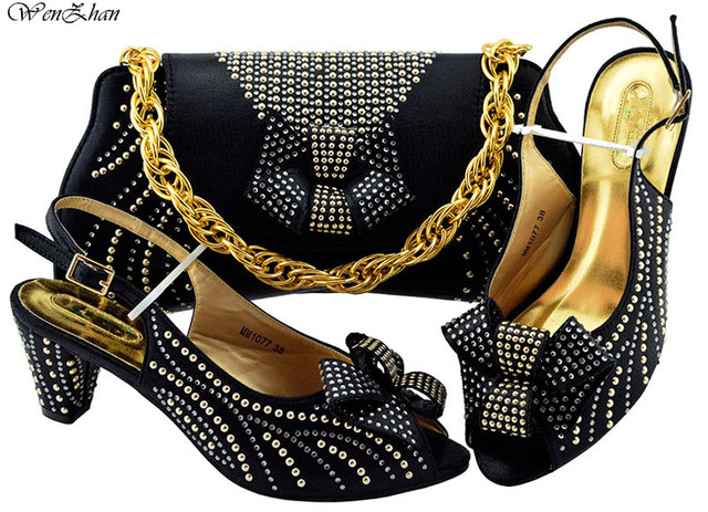 Black Italian Shoes with Matching Bags Set Decorated with Rhinestone Nigerian Women Wedding Shoes and Bag Set Mid Heels B91-12