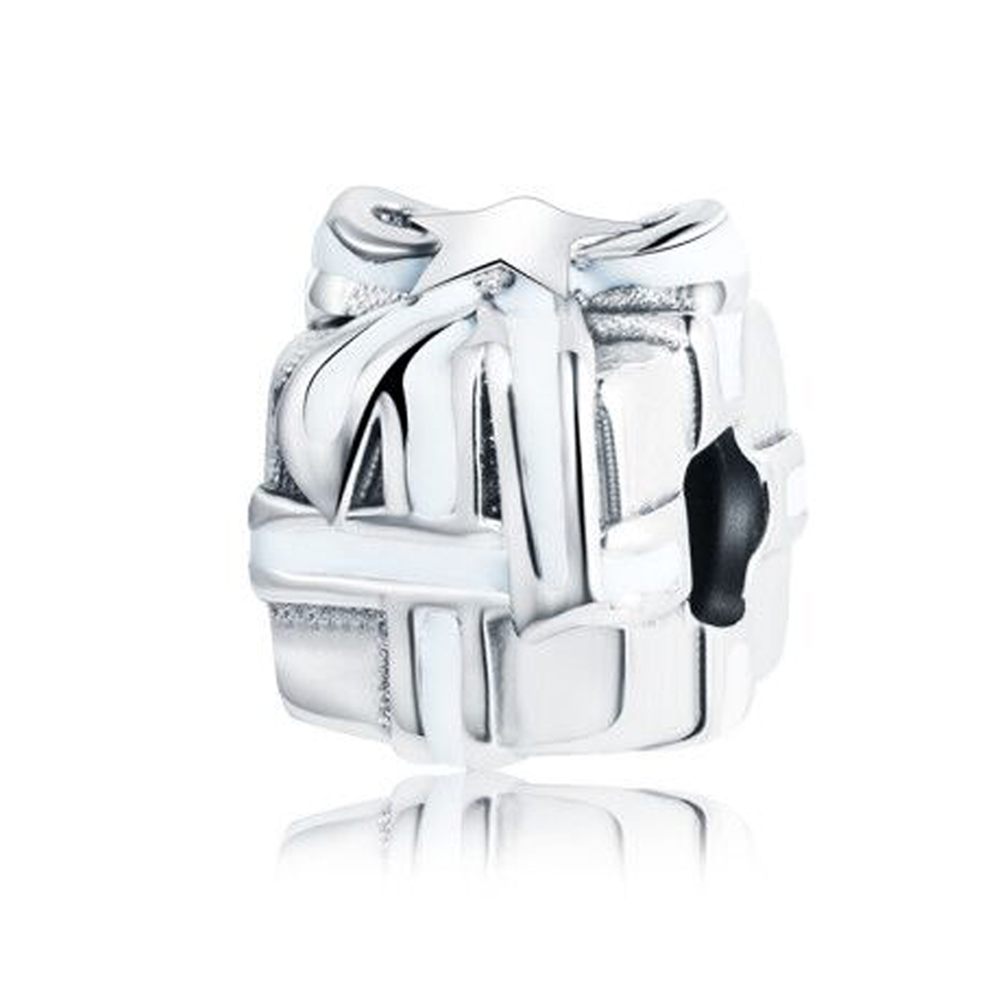 Gleaming Gift Charms With White Enamel Fit Original Pandora Charms Bracelet 2017 925 Silver Color DIY Beads Jewelry Making