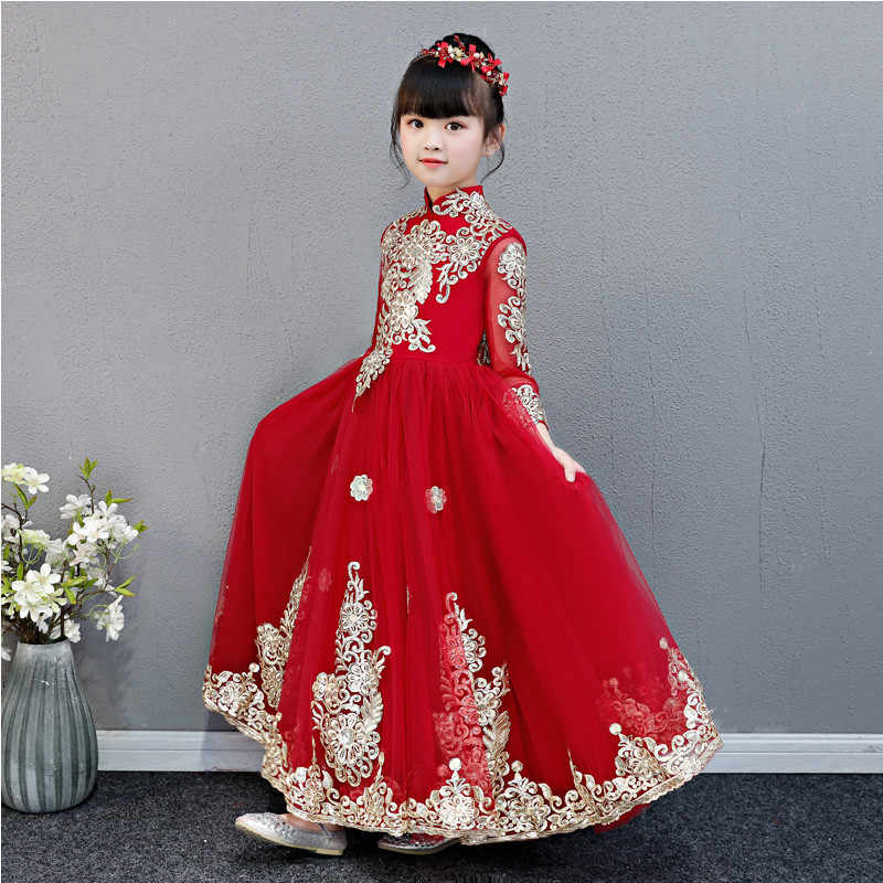 433299c84 ... Little Girls Toddler Elegant Wine-red Embroidery Flowers Birthday  Wedding Party Prom Dress Kids Teens ...