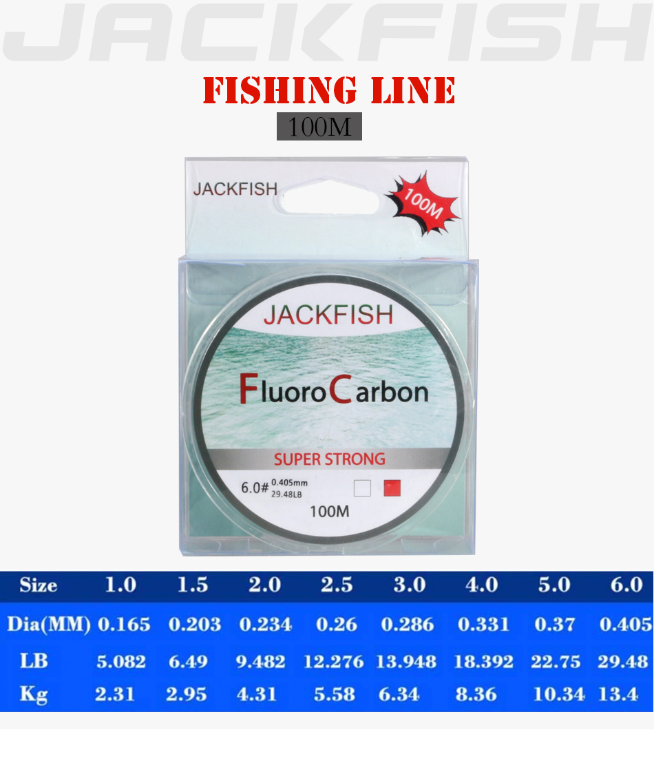 JACKFISH 100M Fluorocarbon fishing line 5-30LB Super strong brand Leader Line clear fly fishing line pesca 7