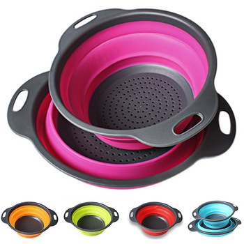 2 PCs/ Set Collapsible Silicone Colander Folding Kitchen Strainer Fruit Vegetable Strainer Kitchen Accessories