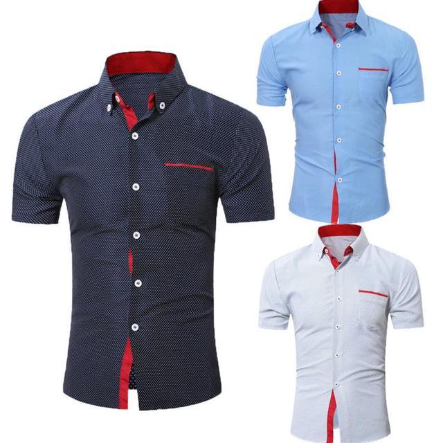 Для мужчин s Повседневное футболка с коротким рукавом Бизнес тонкая рубашка в горошек Блузка Топ Для мужчин рубашка короткий рукав хлопок # GH30 5