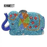 Fashion Newest Luxury Crystal Diamond Elephant Evening Bag Deluxe Indian Rhinestones Metal Zinc Alloy Bridal Party