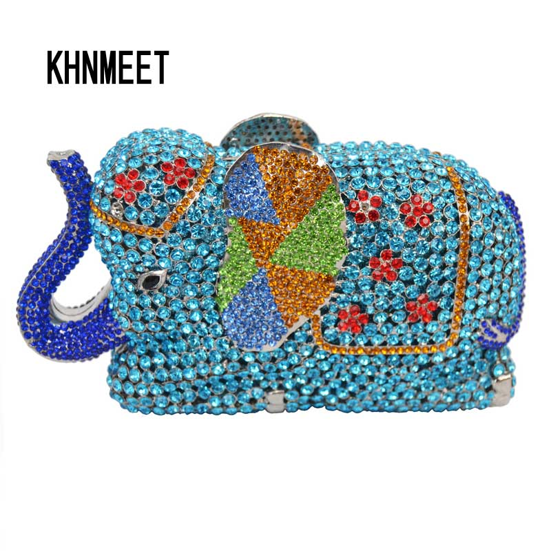 Fashion Newest Luxury Crystal Diamond Elephant Evening Bag Deluxe Indian Rhinestones Metal Zinc Alloy Bridal Party Purse SC487 tetris party deluxe