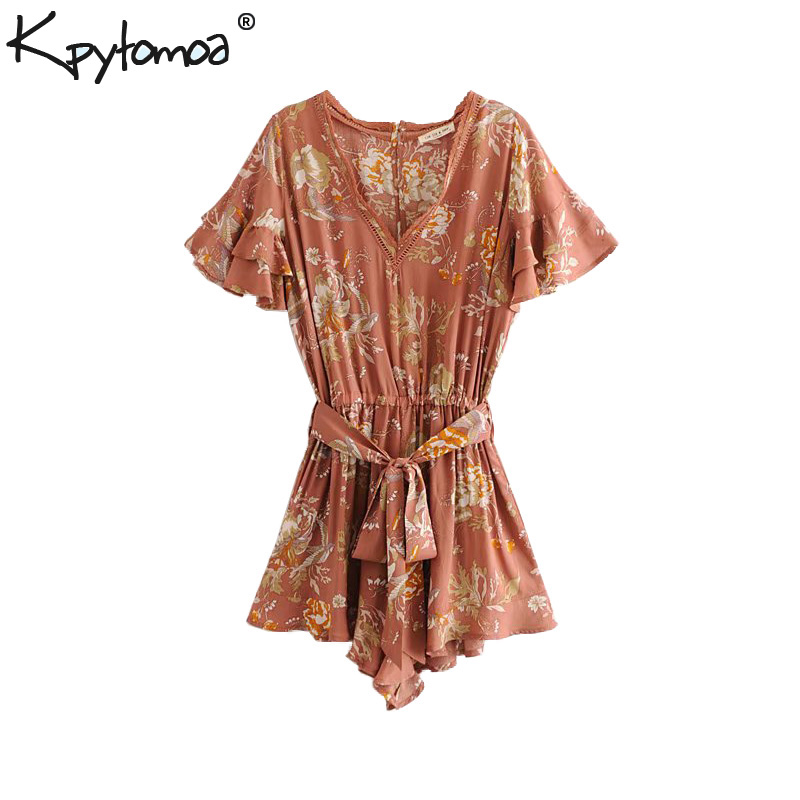 Boho Chic Summer Vintage Floral Print Patchwork Playsuits Women 2018 Fashion Clothing V Neck Sashes Beach   Jumpsuits   Body Femme