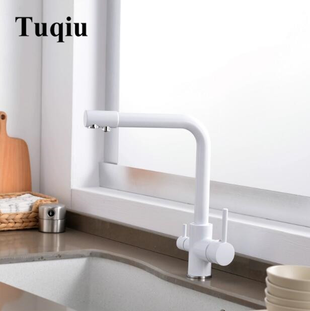 Kitchen Faucet Water Black Brass Purifier Faucet Dual Sprayer Drinking Water Tap Vessel Sink Mixer Tap Torneira