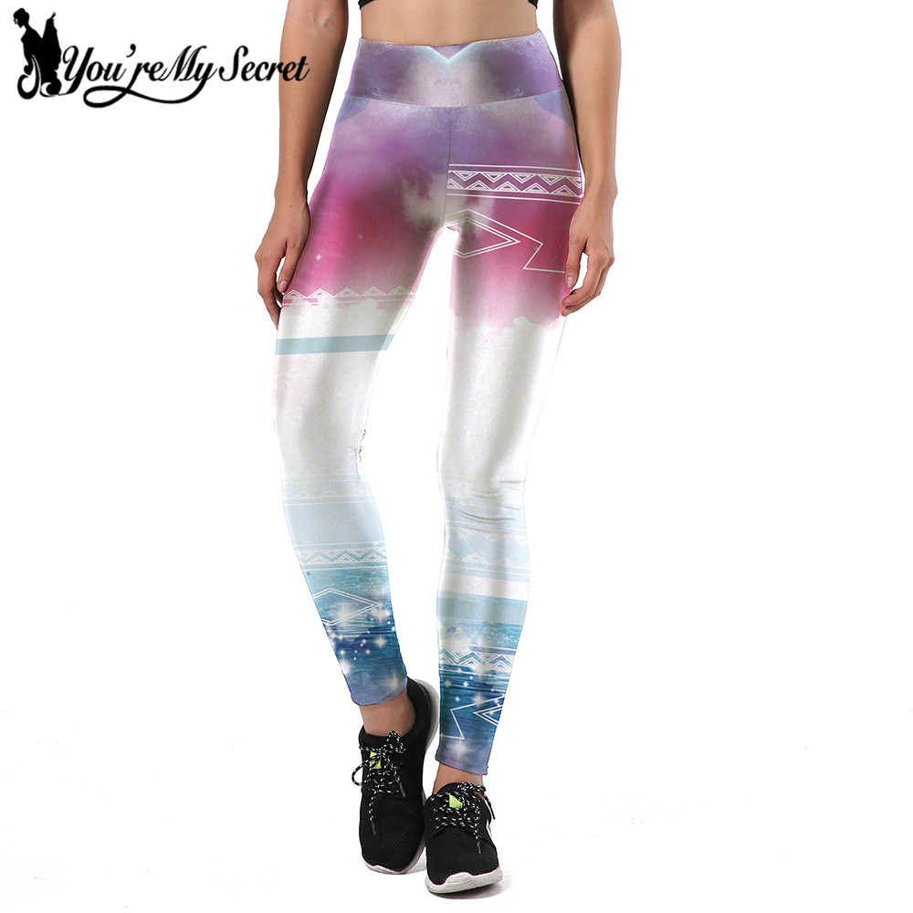 [Youre My Secret] Clouds Gradient Slim Design Leggings Women Beautiful Pattern Leggins Women Digital Print Fitness Women Pants ...