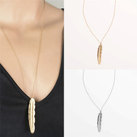 Retro Gold Silver Color Women Feather Shaped Metal Pendant Long Chain Necklace Sweater Statement Vintage Jewelry Accessories
