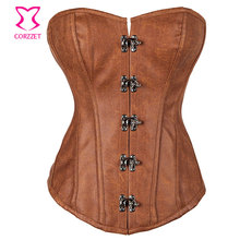 Burlesque Brown Leather Steel Boned Overbust Corset Steampunk Clothing Plus Size Corsets and Bustiers Korsett For Women Sexy