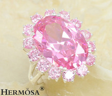 Hermosa sueño joyería de moda Rosario gran victoria Pink kunzita Lady amor 925 anillo de regalo de cumpleaños tamaño 8 A48