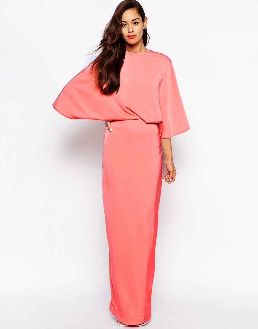 Long Coral Evening Dress