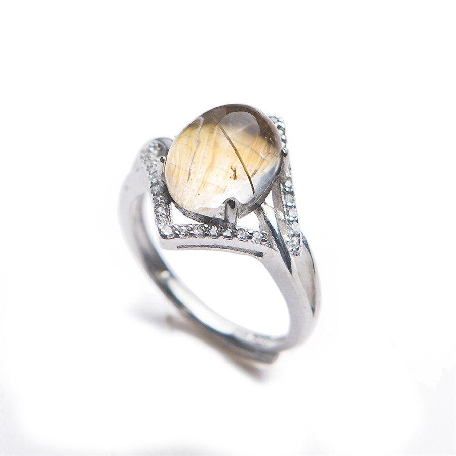 Adjustable Genuine Natural Titanium Rutilated Quartz Round Stone Ring Bead Silver Women Man Wedding Ring 10*8mm Drop Shipping