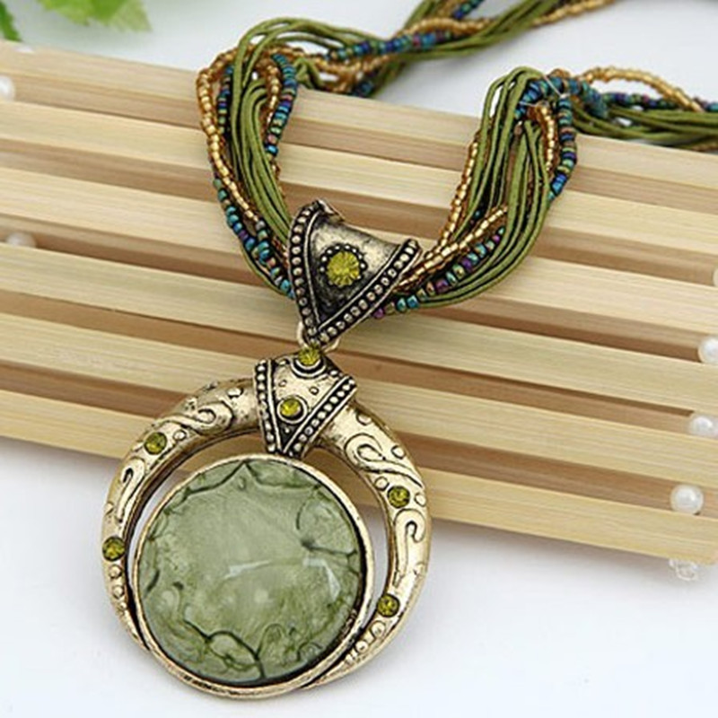 F&U Vintage Necklace Jewelry Fashion Popular Retro Bohemia Style Multilayer Beads Chain Crystal Grain Pendant Necklace