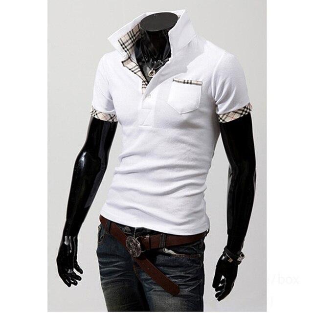 Мода 2016 Лето Slim Fit Классический Дышащий Твердые коротким рукавом рубашки сетки сплайсинга Рубашки Поло мужчины Homme 6 цвет M-XXXL