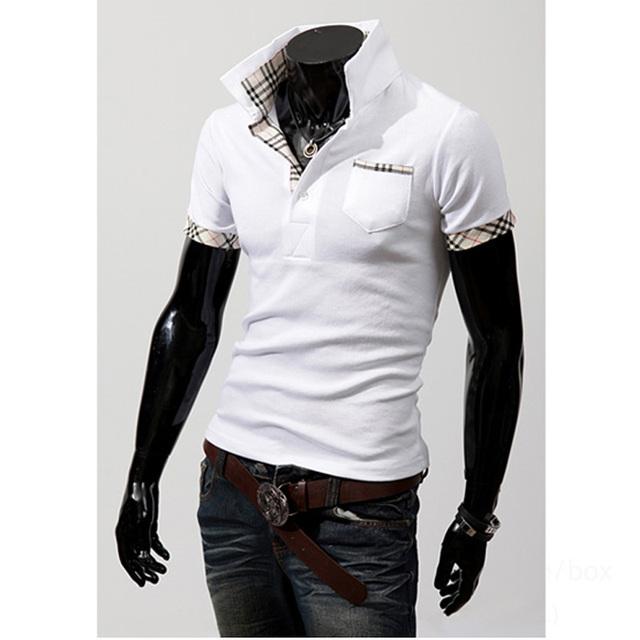 Moda Verão 2016 Slim Fit Clássico Respirável Sólida Camisa Pólo de manga curta camisas grade splicing homens Homme 6 cor M-XXXL