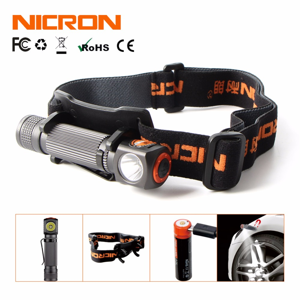 NICRON Mini Rechargeable LED Headlamp 130Lm 75M Long Beam Waterproof IP65 Flashlight Headlight Torch Lamp For Camping H10R r3 2led super bright mini headlamp headlight flashlight torch lamp 4 models