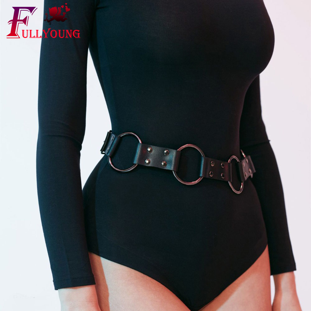 Fullyoung Design Sexy Leather Waist Belt For Women Punk New Fashion Leather Harness O-ring Waistband Metal Black Belt Harness