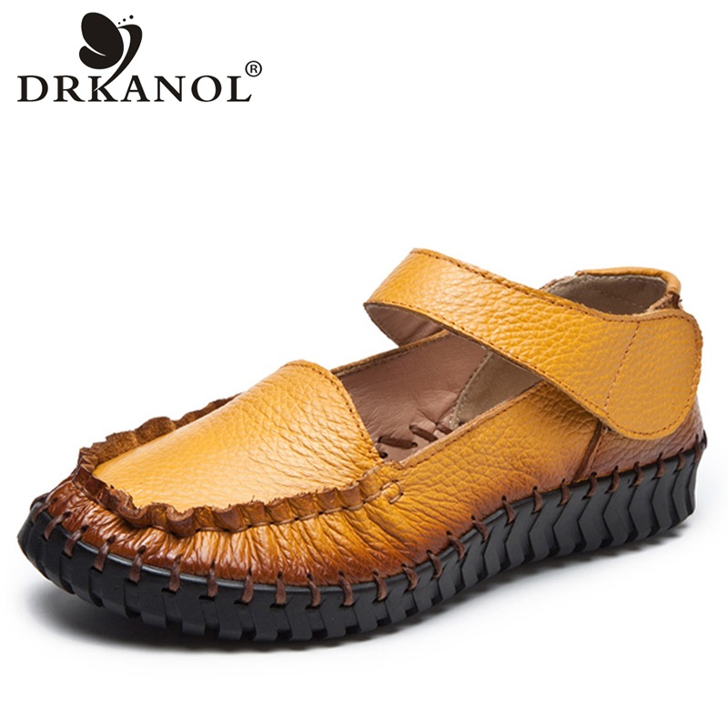 DRKANOL Genuine Leather Casual Shoes Women Flats Loafers Soft Bottom Retro Style Handmade Women Flat Shoes Round Toe Big Size 43 timetang new genuine leather soft bottom women shoes big size flat heel shoes women casual shoes comfortable ballet flats c087