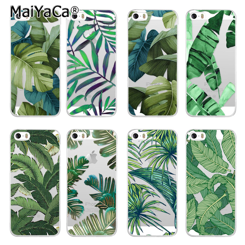 MaiYaCa Unique Luxury  Palm Tree Leaves soft Silicone phone case For iPhone 5 5s SE Case