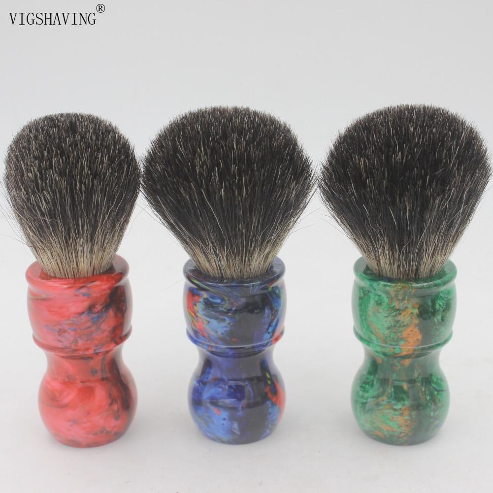 VIGSHAVING  Colorful Resin Handle  Black Pure Badger Hair Men Shaving Brush