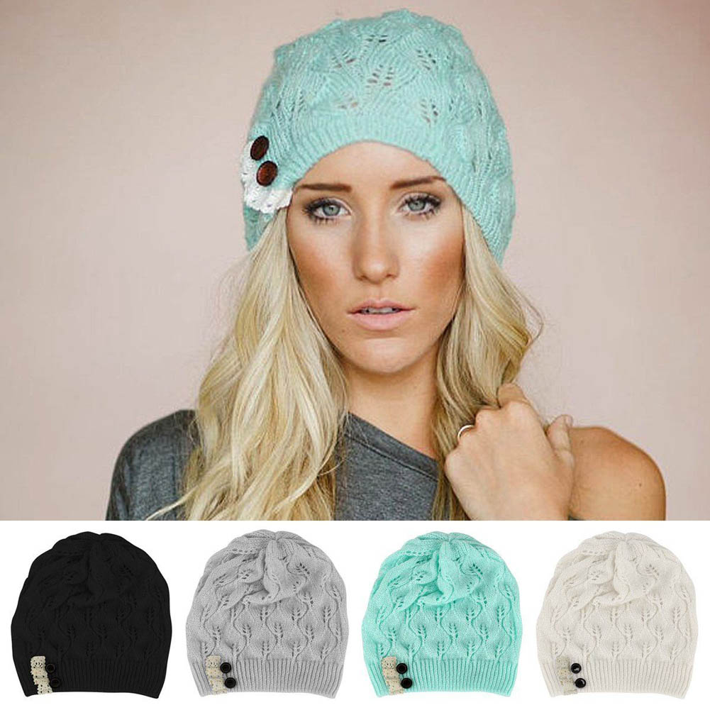 New Fashion 2017 Accessories winter Female hats Autumn Lace Button Hollow Out knitted Hat Cap for women clothes 5 colors 2017 new fashion autumn and winter wool leaves hollow out knitting hat thick female cap hats for girls women s hats female cap