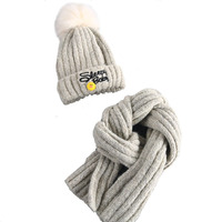 Children S Winter Wool Hat And Scarf Sets Real Fur Fox Fur Pom Hat Kids Warm