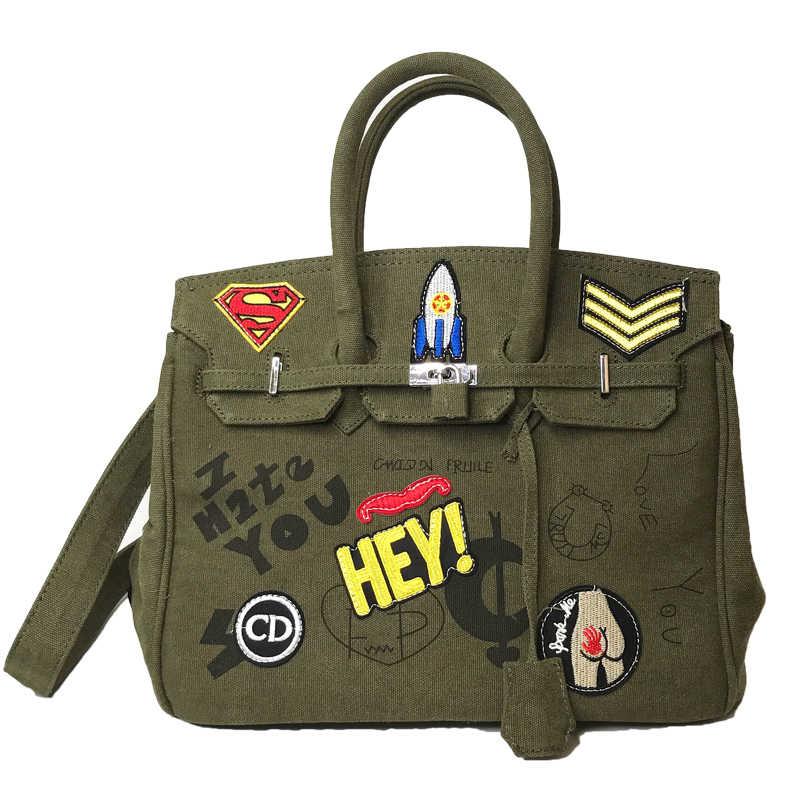 39ff040d454d Large Capacity badge Graiffi Platinum Bag Military Canvas Women Tote  Shoulder Bag Fashion Brand Men Causal