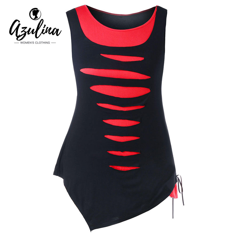 AZULINA Plus Size Shredding Asymmetric   Tank     Top   2018 Summer O Neck Sleeveless Lace-Up Ladies   Tops   Tees Big Size Women'S Clothing