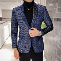 Autumn men dress jacket slim design mens suits blazers Asia size S 5XL Blue men suit jacket high quality