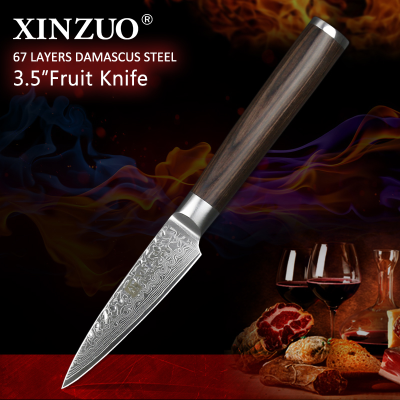 XINZUO 3 5 inches utility knife 67 layers Japanese Damascus stainless steel kitchen knives high quality