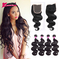 Brazilian Body Wave With Closure 4 Bundles With Closure 8A Brazilian Virgin Hair with Closure Human Hair Bundles with Closure