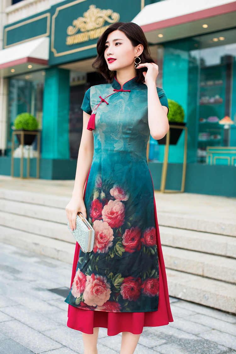 2018 Retro Chiffon Short Sleeve Cheongsam Ao Dai Party Prom Cocktail Maxi Dress