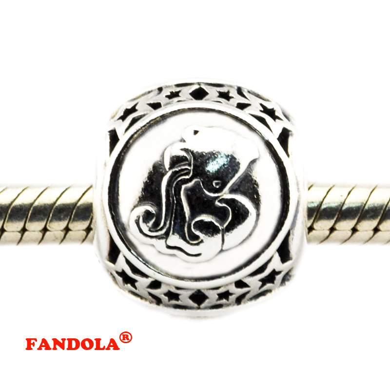 DIY Fits Pandora Bracelets Aquarius Star Sign Beads 925 Sterling Silver Jewelry Charms for Women Free Shipping