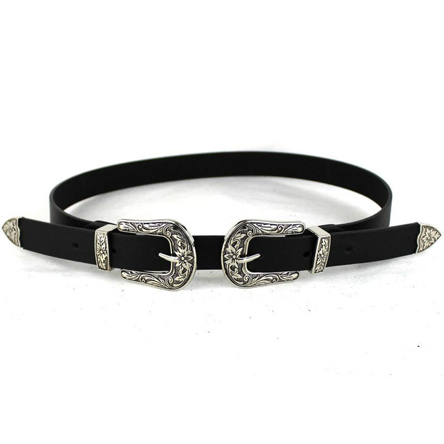 Women Black Leather Western Cowgirl Waist Belt Metal Buckle