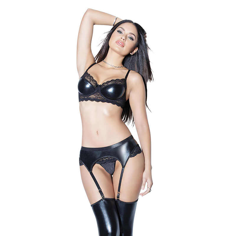 35b290bdc4a Wetlook Women Lingerie Set Fetish Faux Leather Underwear Strap Lace Bra Low  Waist G-string