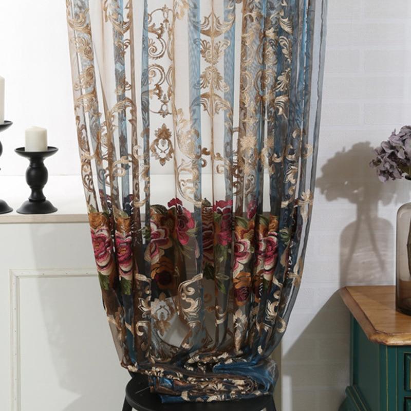 Broderie Rideaux Tulle Fil Sheer pour Salon Chambre Italie Cachemire Haut de gamme Chambre Fenêtre rideau Fleur De Luxe