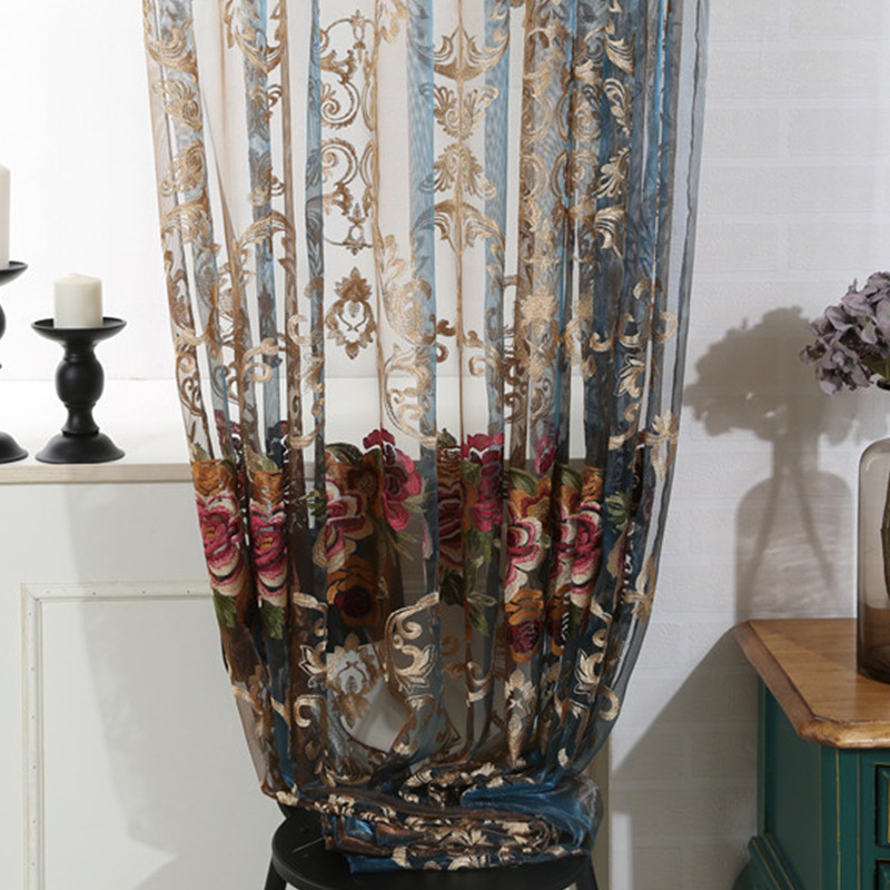 Window Italy Cashmere High end Bedroom Window Luxury Soluble Embroidery Curtain Tulle Yarn Sheer for Living