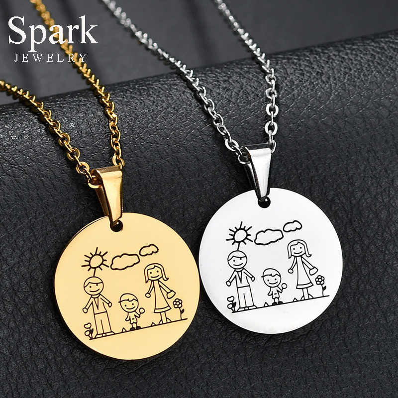 Spark Brand Mom Dad Son Family Necklaces Stainless Steel Cartoon Parents Boy Pendant Charm Necklace Mother's Day Jewelry Gift