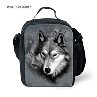 TWOHEARTSGIRL Gris Lobo Animales de Impresión Bolsa para Niños Aislados bolsa de Almuerzo mujeres Oficina de Bolsa de Comida Bolsa Lonchera Portátil con Cara bolsillo