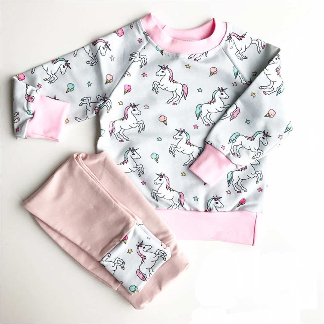 Baby Clothing 2018 Baby Girl Clothes Sets Spring Long Sleeve Unicorn Print Toddler Girls Baby Suit for Kids children Tracksuit spring autumn sequin rose girls clothes sets kids sport suit for girl baby long sleeve embroidered flower children clothing set