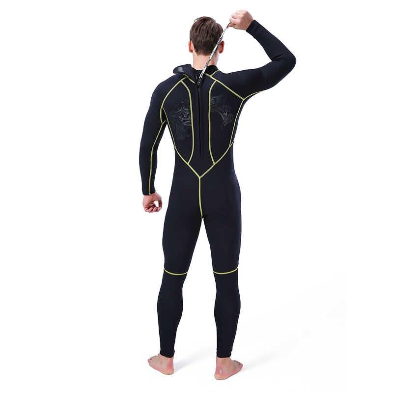 Wetsuit Pria Scuba Diving 3 Mm Menyelam Suit Neoprene Panjang Penuh Baju Renang Pakaian Renang Surfing Triathlon Baju Renang Mencegah Ubur-ubur